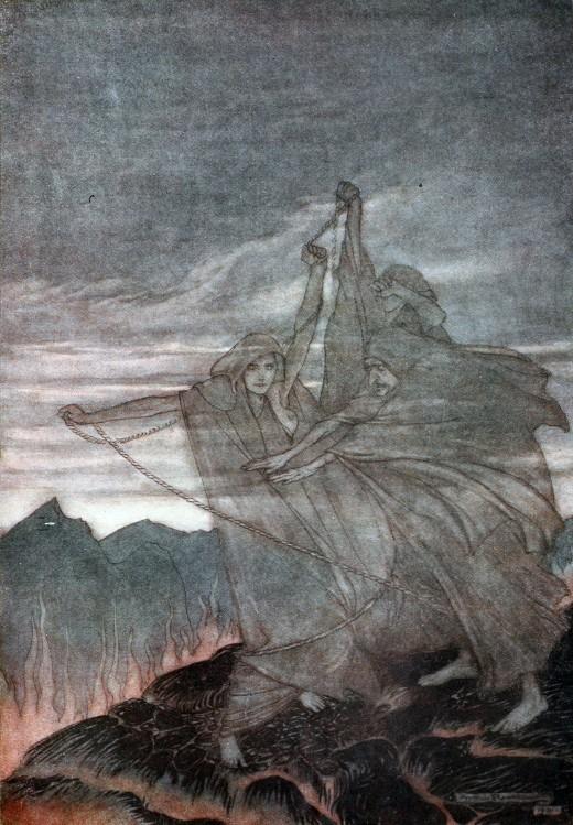 As Nornas, de Siegfried e o Crepúsculo dos Deuses. Arthur Rackham Fonte: Wikimedia Commons