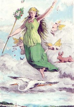 Uma versão colorida de uma gravura de Johannes Gehrts' entitulada
