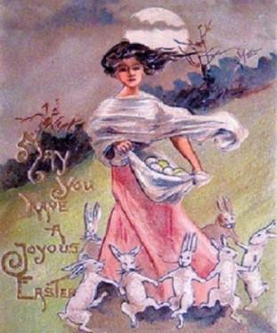 Cartão de páscoa vintage, demonstrando uma tradição de associar uma jovem mulher com o feriado, um remanescente da nossa memória cultural de Eostre.