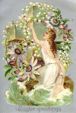 Um outro cartão de vintage Páscoa (Easter). A fusão dos dois feriados religiosos é demonstrada.