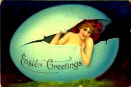 """Cartão de Páscoa Vintage. Eostre parece dizer """"Estou de vooolta!"""""""