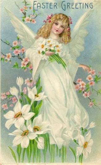 Anjos de Páscoa do sexo feminino são um tema comum em cartões vintage. Esta poderia ser uma memória da nossa perdida deusa da Páscoa?