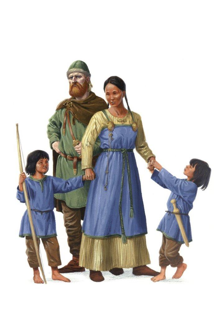 Hjør e Lufvina com os gêmeos Geirmund e Håmund Heljarskinn por Anders Kvåle Rue