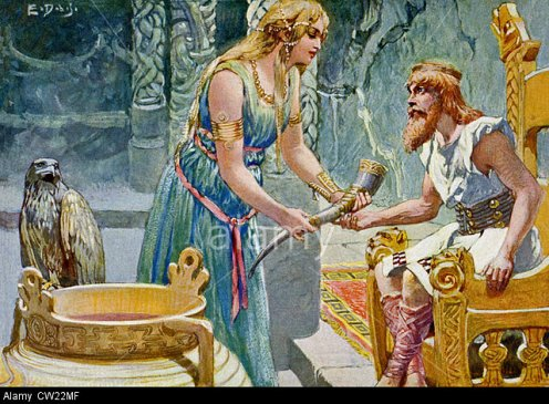 CW22MF The giantess Gunlod was in charge of the Holy Mead, the drink of the gods. Gunlod is giving Odin the holy mead to drink.