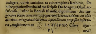 Runir Seu Danica, O Worm, 1651, p117.