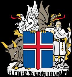 Brasão da Islândia com os quatro landvaettir