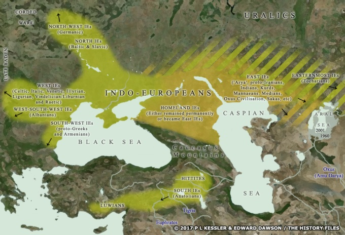 Por volta de 3000 AEC, os indo-europeus começaram sua migração em massa para longe da estepe Pôntico-Cáspia, com a maior parte deles indo para o oeste em direção ao coração da Europa. Créditos na imagem.