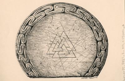 Possível tampa ou placa de corte de Oseberg. Museu da Universidade de Oslo