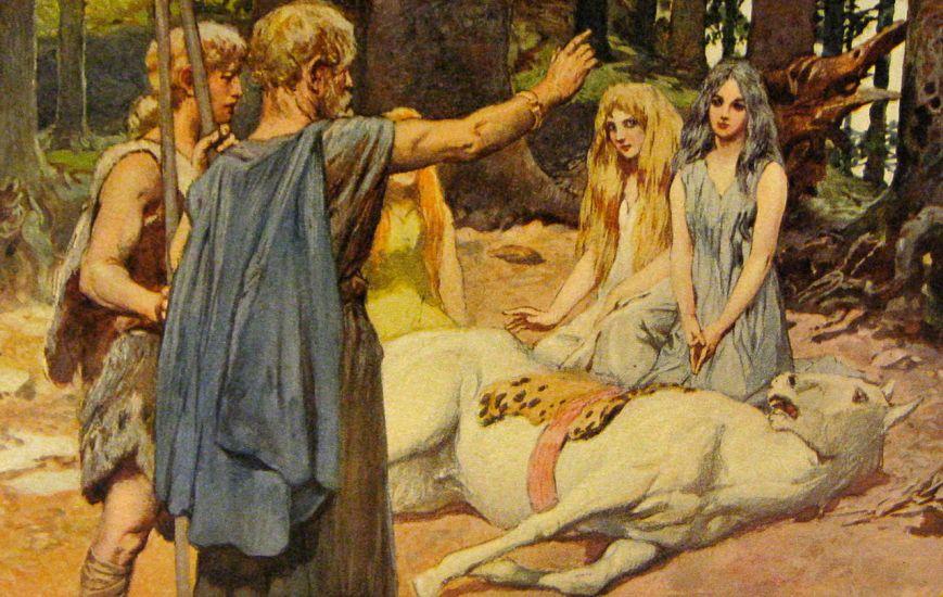 Emil Doepler, Wodan cura o cavalo de Baldur, 1907. Baseado no Segundo Encantamento de Merseburgo.